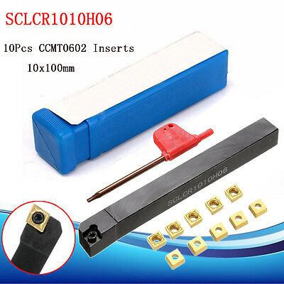 10Pcs CCMT0602 Blade Inserts SCLCR1010H06 Lathe Turning Tool Holder 10x100mm