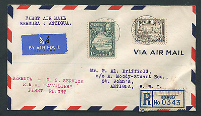 BERMUDA: (14933) only recorded FFC to ANTIGUA/First Flight cover