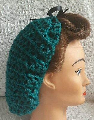Hair Snood (Teal With Black Ribbon-Handmade-1940's Style)