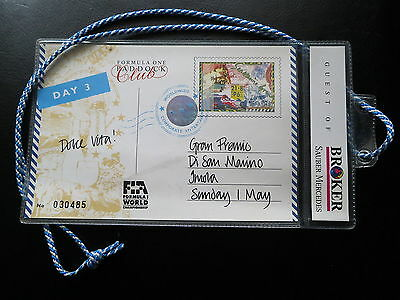 FORMEL 1 San Marino Imola 1994 Paddock Ticket RAR! Guest of Sauber Mercedes Team