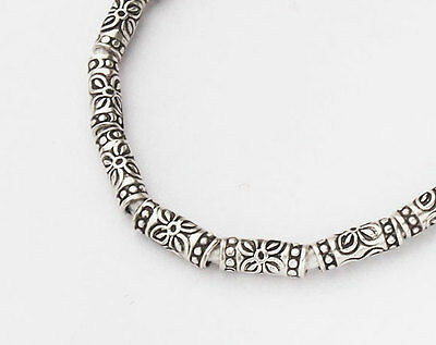 Karen Hill Tribe Silver 22  Printed Tubular Beads 3x7.5mm.6.5 inches