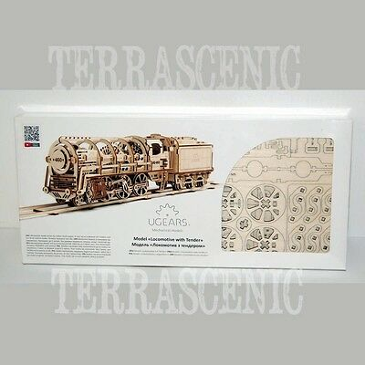 UGEARS 3D Mechanical Wooden Model Kit 460 LOCOMOTIVE with Tender