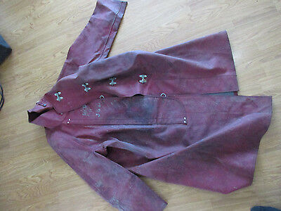 Vintage Red Fireman Fire Firefighter Coat Turnoout Jacket 1950's (t)