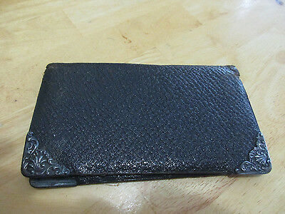 Ant. 19th C Leather & Gorham Sterling Silver Wallet Billfold Mens Womans 1888(t)