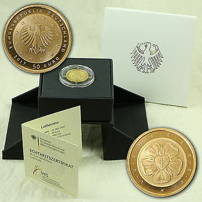 50 Euro Gold Münze Coin Lutherrose Martin Luther Rose Deutschland 2017 Adfgj