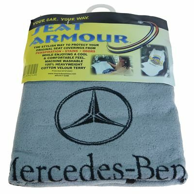 Seat Towel Cover Gray Terry Cloth Seat Armour w/ Logo for Mercedes Benz New