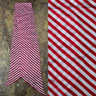 Red & White Retro Striped 1980S Vintage Floaty Silk Long Scarf