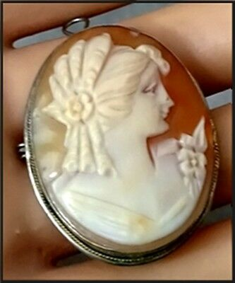 Antique 800 Silver Carved Shell Cameo Brooch Vintage Pendant
