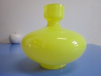 Fancy 70s art glass vase HIRSCHBERG pop art design Germany stunning YELLOW