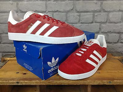Adidas Mens Uk 8,9, 10 Red Suede Gazelle Og Trainers Re Dye