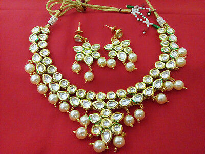 Indian Jewelry Necklace Set Bollywood ethnic Gold Plated Traditional Kundan Set