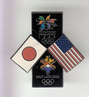 Rare Pins Pin's .. Olympique Olympic Salt Lake 2002 Nagano 98 Japon Big 3D ~17