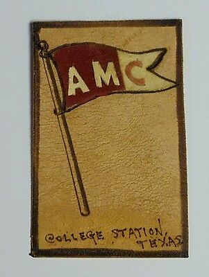 Vintage A&M College Leather Post Card Texas A&M University Franklin 1 Cent Stamp