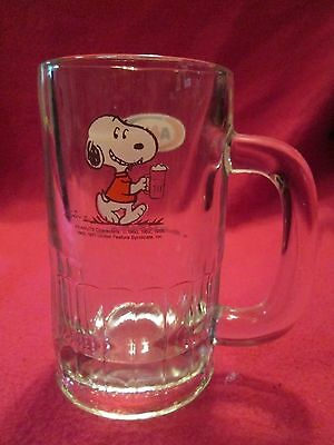 A&w Peanuts Gang Snoopy Heavy Glass Rootbeer Mug 1971