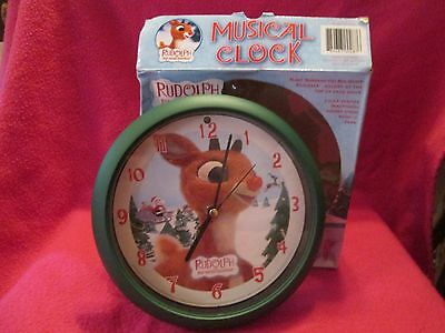 """8"""" Rudolph The Red Nosed Reindeer Musical Clock In Box 2005"""