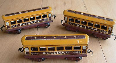 3 x Vintage Tinplate O Gauge Pullman Train Carriages / Coaches