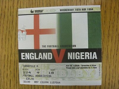 16/11/1994 Ticket: England v Nigeria [At Wembley] (light fold).  We are pleased