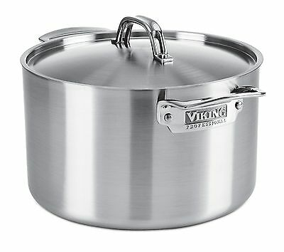 NEW Viking 5-Ply Professional 8 Qt. Stock Pot w/Lid Stainless Steel Non Stick