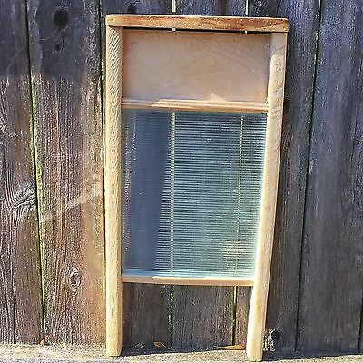 Vintage Washboard - Glass and Wood - used for delicates