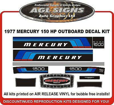 1977 Mercury 150 HP  Reproduction Outboard Decal Kit  1500 115 1150