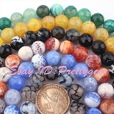 12mm Natural Round Faceted Craceked Fire Agate Gemstone Beads Spacer Strand 15""