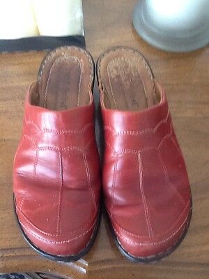 Josef Seibel Red Leather Slip On Closed Mule Shoes Uk 7. Vgc