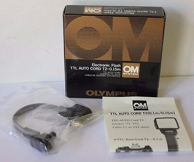 BOXED Olympus OM System Flash TTL Auto Cord T2-0.15m for T45 Bracket