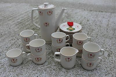 Rare Vintage Boch Coffee Service for the Blood Donors with Medal of Honour