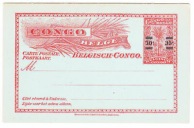 BELGIAN CONGO: 1921 30 cent SURCHARGE on 10 cent pstcrd Higgins & Gage #51, MINT