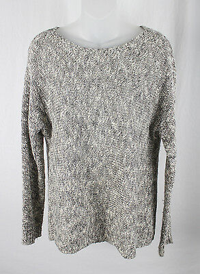 Vince Women's Gray White Beige Knit Long Sleeve Sweater Shirt Top Size S