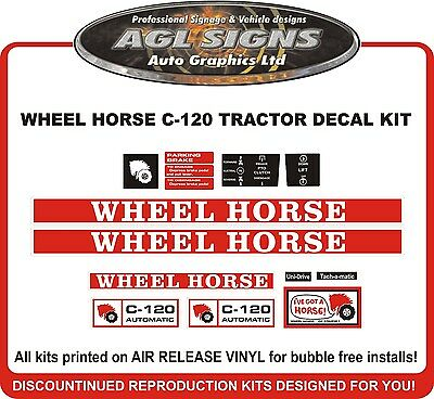WHEEL HORSE C-120 AUTOMATIC TRACTOR DECAL SET, reprocduction
