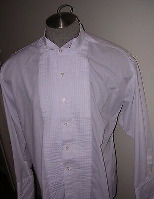 #134 Mens White Victorian Wing Tip Pleated Shirt For Dickens Dracula Costume 2Xl