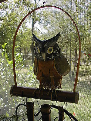 Wood And Coconut Shell Hand Painted Owl On Bamboo Perch W/3 Bamboo Wind Chimes