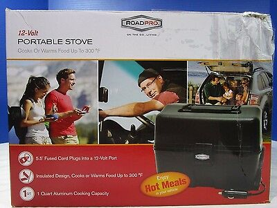 Brand New RoadPro 12 volt Portable Stove (1 qt capacity) (up to 300 F) Free Ship