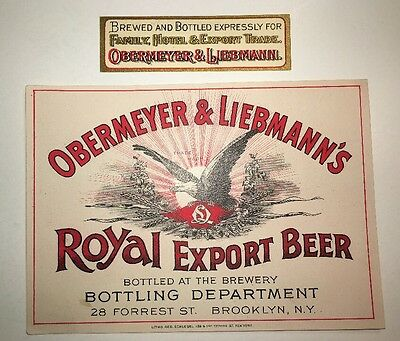 Obermeyer and Liebmann Prepro Beer Label Brooklyn New York c 1900 w neck