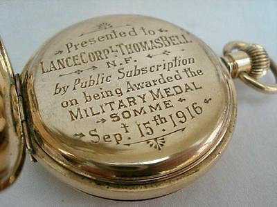 Military Interest Gold Plated Full Hunter Pocket Watch Somme 1916.