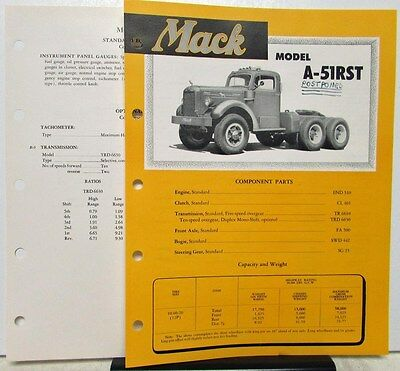 1951 Mack Truck Model A 51RST Specification Sheets