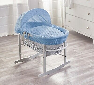 Blue Dimple Grey Wicker Padded Moses Basket And Grey Rocking Stand