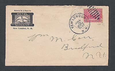 Usa 1907 Hotel Sargent Cover & Letter New London To Bradford New Hampshire