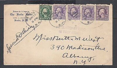 Usa 1919 The Berlin House Hotel Cover & Letter Berlin New Hampshire To Albany
