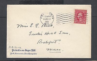 Usa 1922 Beckett's On Sugar Hill Hotel Cover Franconia New Hampshire To Rockport