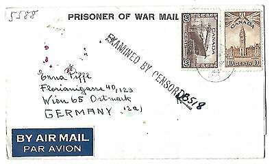 Canada 1944 POW Germany censored multilingual stationery envelope  39/15/D3