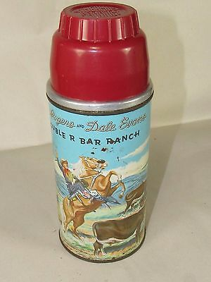 Vintage Cowboy Roy Rogers & Dale Evans Double R Bar Ranch Thermos,Glass Liner