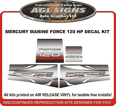 MERCURY MARINE FORCE 120 HP DECAL SET  (90'S)  reproductions 125 hp also