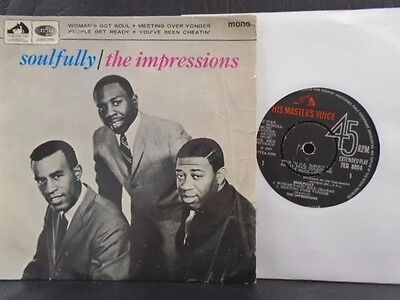 "THE IMPRESSIONS E.P "" SOULFULLY "" UK H.M.V. EX- COND. IN VG+ Or. PIC SL."