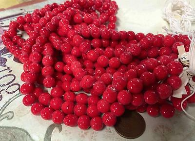 Vintage Cherry Brand 7mm Dimpled Red Glass Beads Japan 50