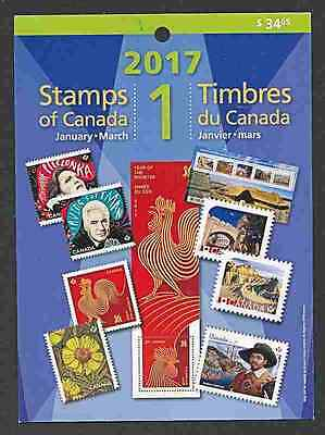 Canada 2017  Quarterly Stamp Pack   Jan - March  Mnh