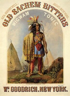 American Indian Wigwam Tonic Medicine New York Vintage Poster Repro FREE S/H