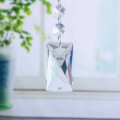 1pcs Rectangle Crystal Glass Chandelier Lighting Prism Drop Hanging Pendant