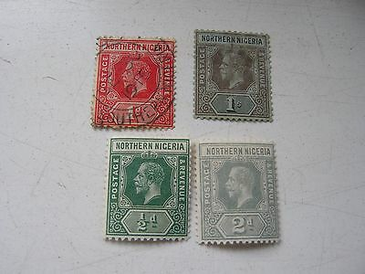 Northern Nigeria 4 stamps KGV 1/2d-1/- 3 are MM 1 is FU